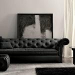 Elegant Sofa noir en cuir