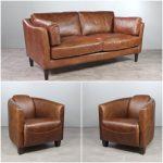 canapé 3 places avec 2 fauteuils club cuir-vintage-marron-glace