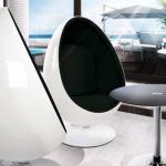 fauteuil oeuf blanc noir