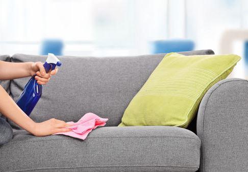 Nettoyage canapé avec éponge