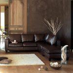 canapé d'angle KENNEDY en croûte de cuir marron